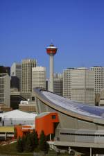 Calgary tower and Saddledome