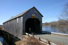 Old covered bridge in New Brunswick - Darlings Island Bridge.