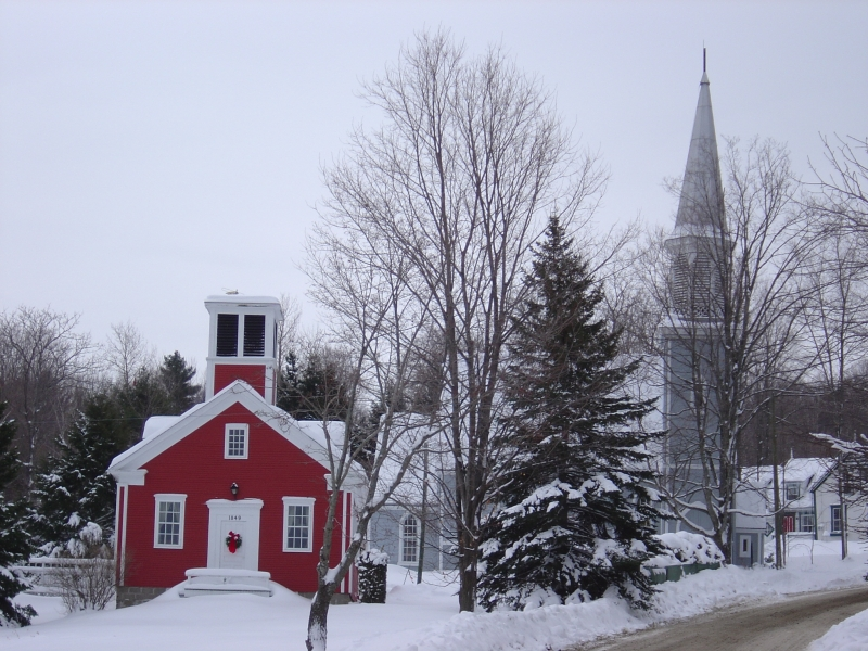 tower, trees, road and snow, Georgeville, Quebec, Canada.