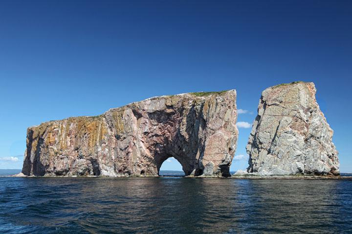 Perce Rock, in the Atlantic Ocean off Gaspe Peninsula